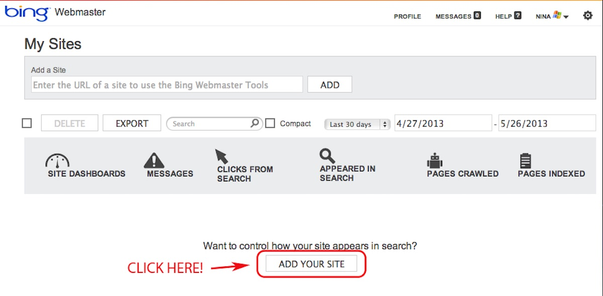 Adding your Site in Bing Webmaster Tools