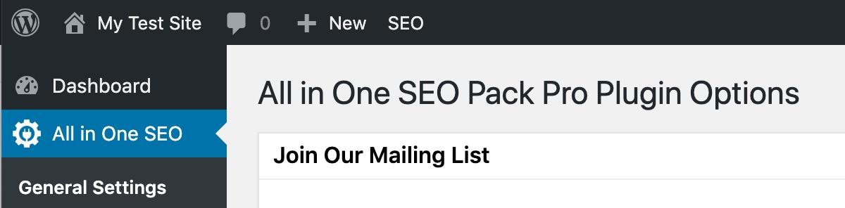 All in One SEO in the main WordPress menu