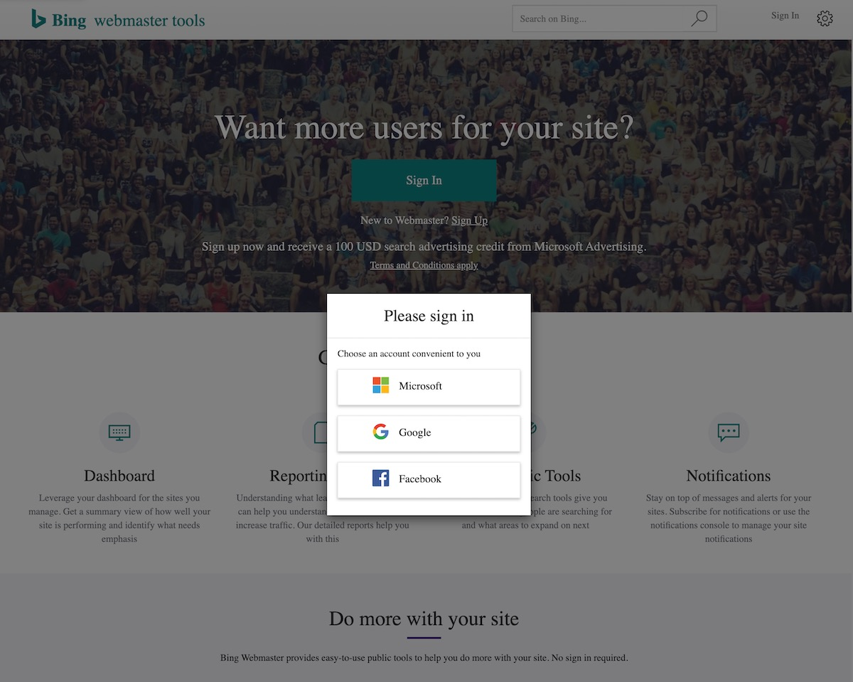 Bing Webmaster Tools Welcome page