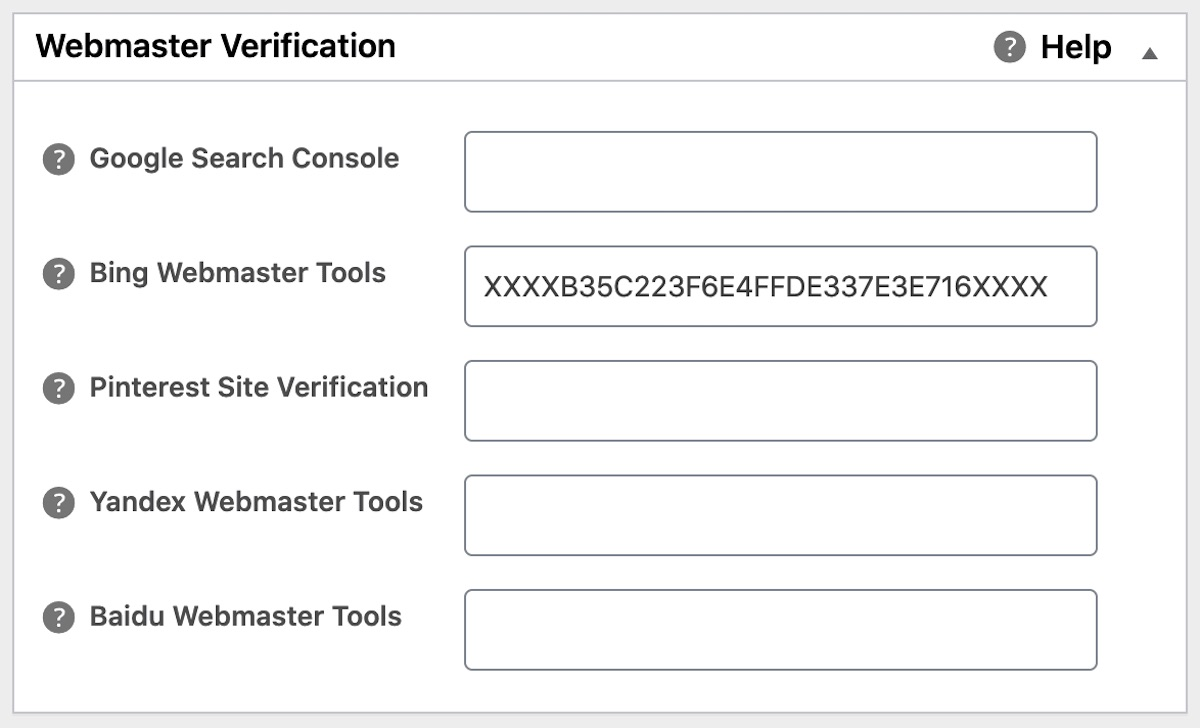 Bing Webmaster Tools field in All in One SEO