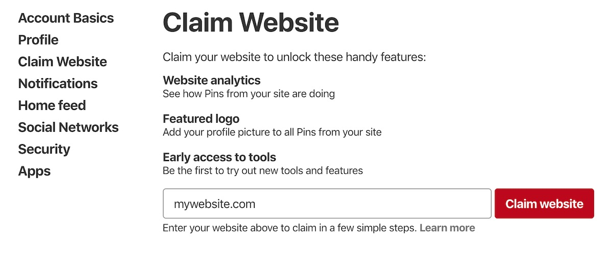 Pinterest Claim Website screen