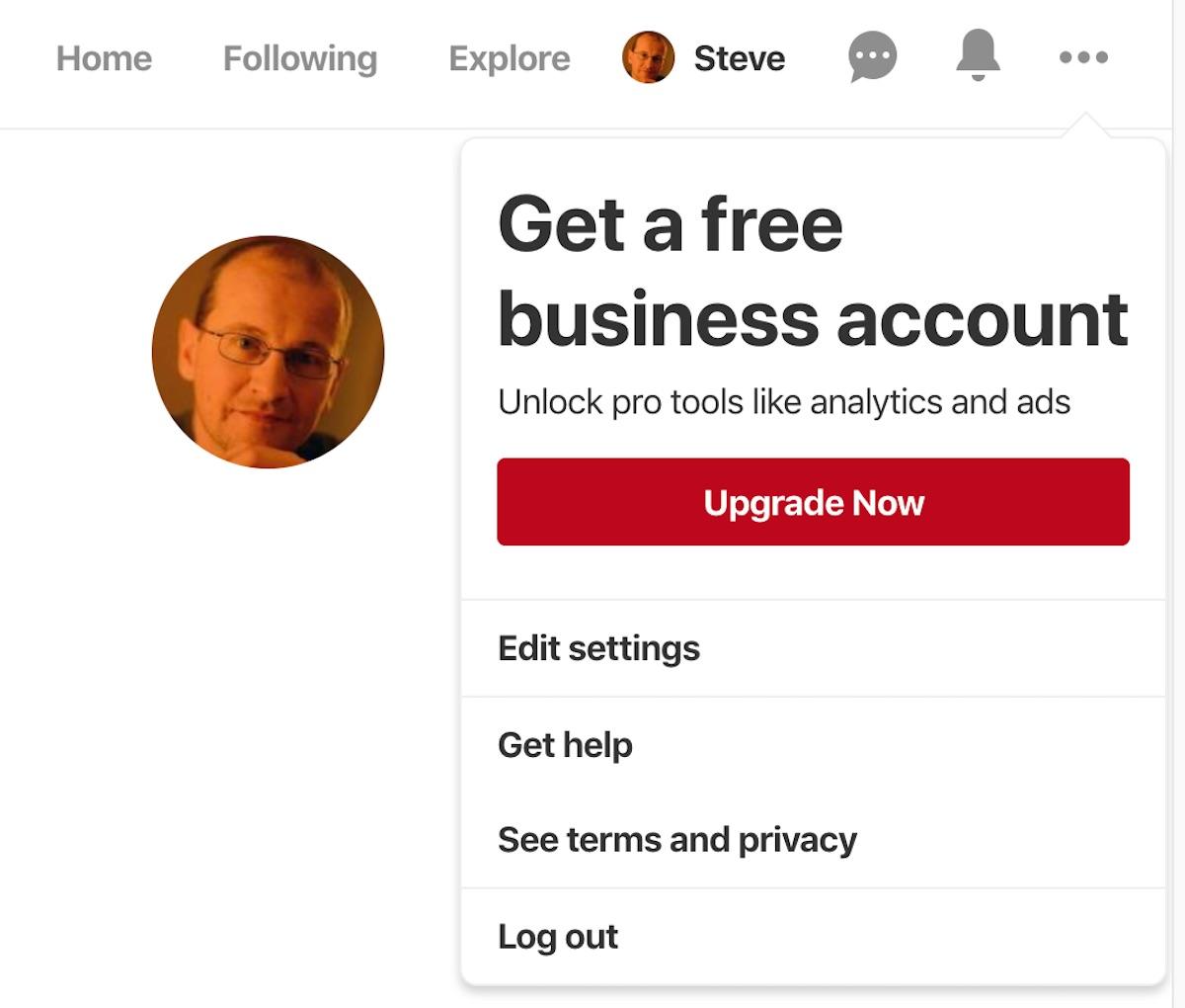 Pinterest Edit Settings screen