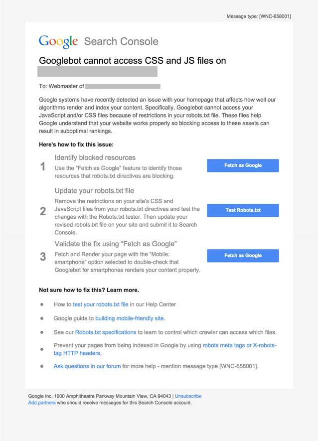 Image of email from Googlebot regarding Blocking Javascript & CSS