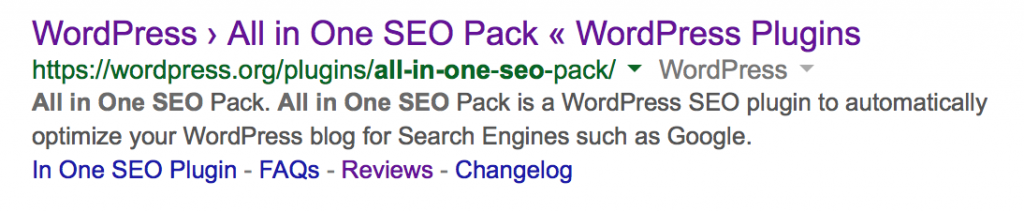 Screenshot of All in One SEO Pack Google Search Results Listing