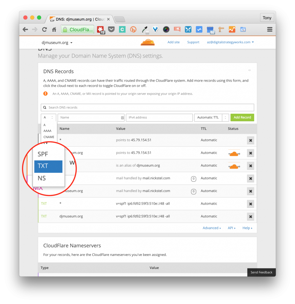 Screenshot Select TXT Record in CloudFlare DNS Zone Manager