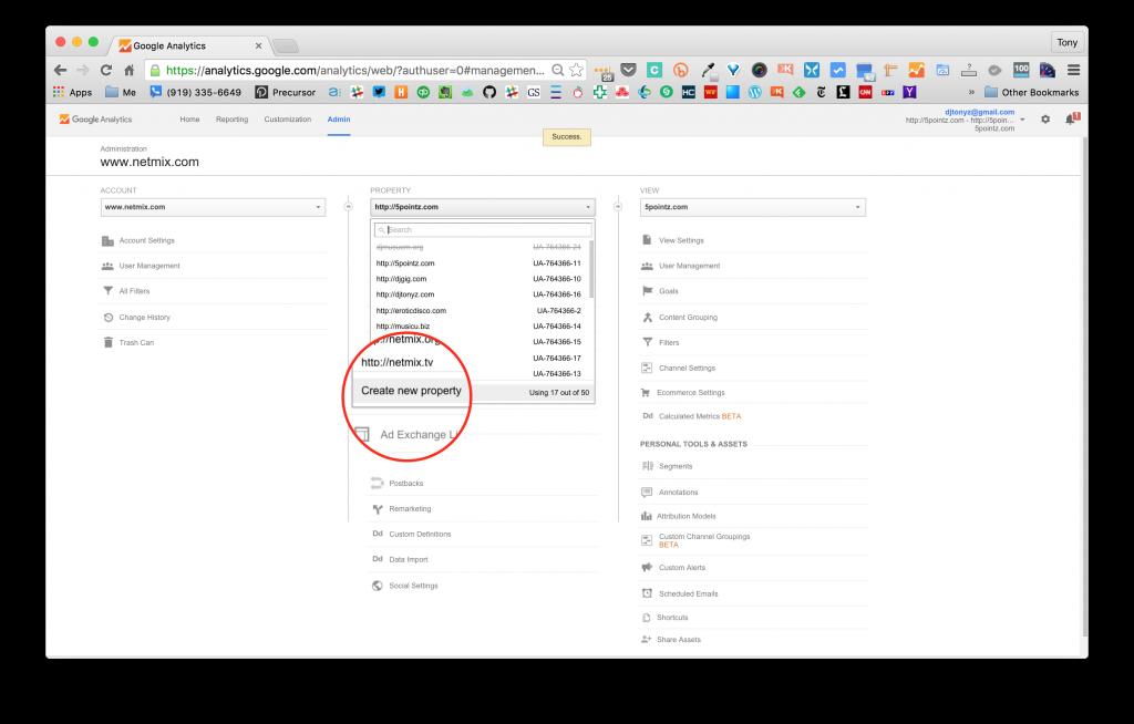 Screenshot of Google Analytics Create New Property Drop Down Selection