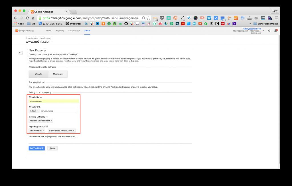Screenshot of Google Analytics Create New Property Screen