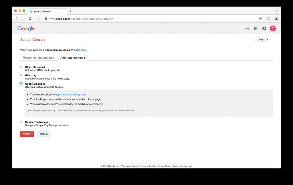 Screenshot of Google Search Console Google Analytics Method