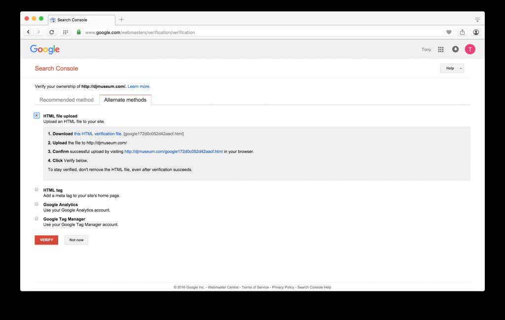 Screenshot of Google Search Console HTML File Upload Method