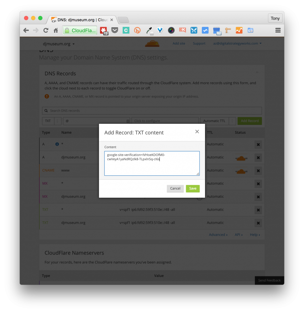 Screenshot of CloudFlare TXT Record DNS Zone popup