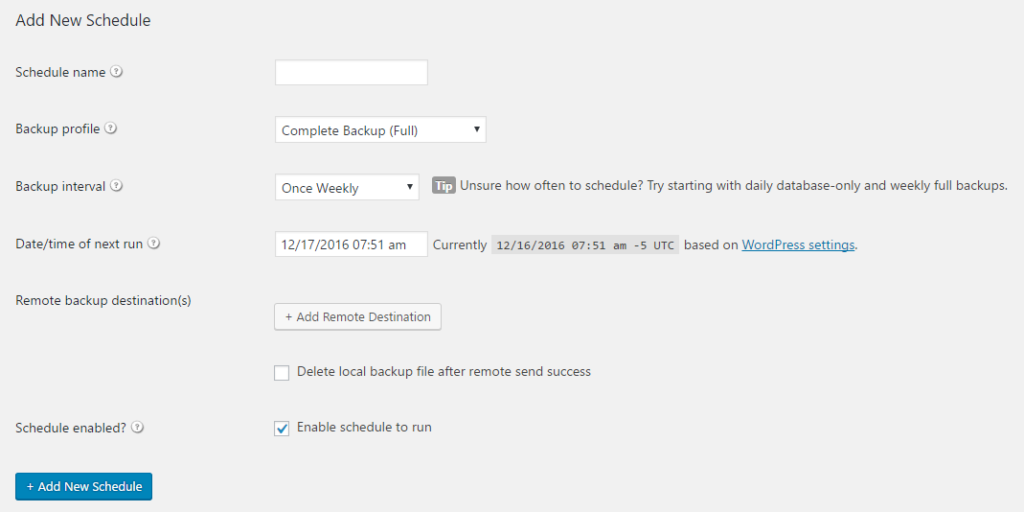 Scheduling database or complete backups is as easy as a few clicks, but BackupBuddy does require a paid license.
