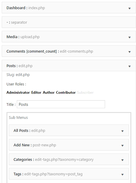 WP Admin UI Customize allows you to fully adjust the Sidebar to your own needs.