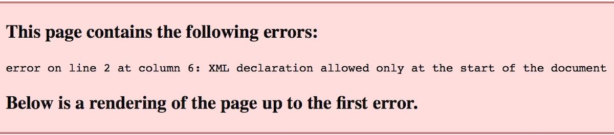 XML declaration error in XML Sitemap
