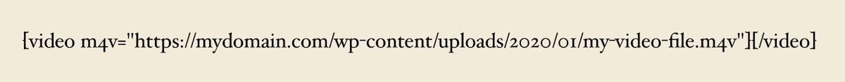 Example video shortcode in WordPress