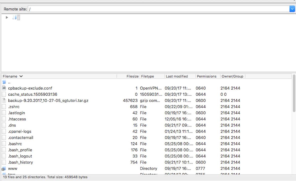 FTP using Filezilla - Step 2