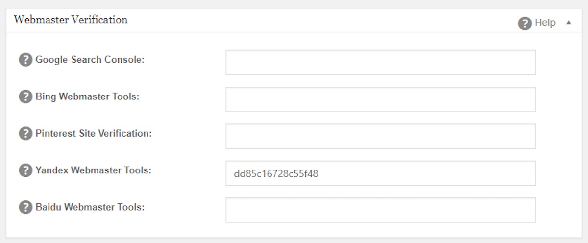 Yandex Webmaster Tools field in All in One SEO