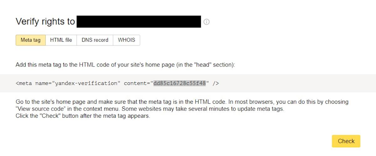 Yandex Webmaster Tools verification - step 2