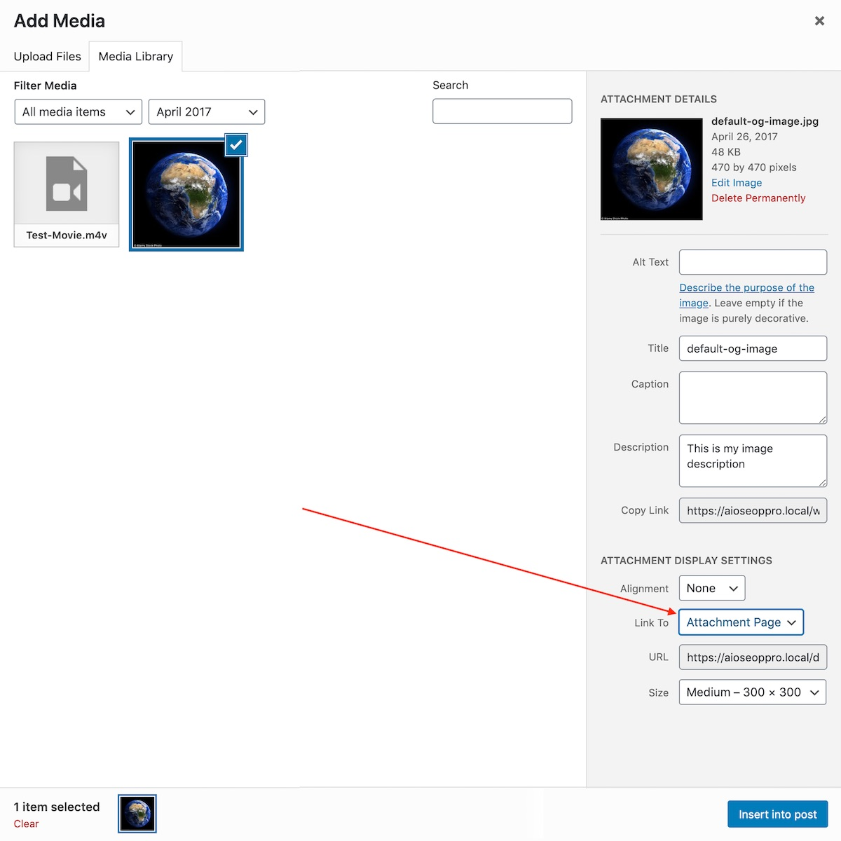 Linking to an Attachment Page in the Classic Editor