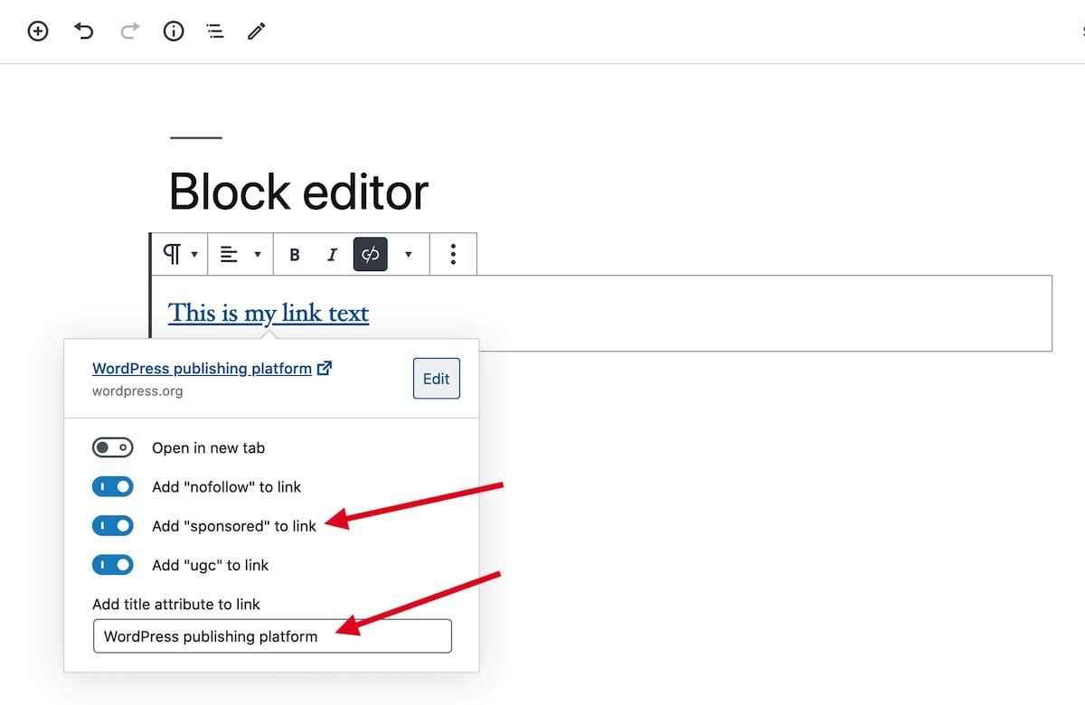 Link Options in the WordPress Block Editor