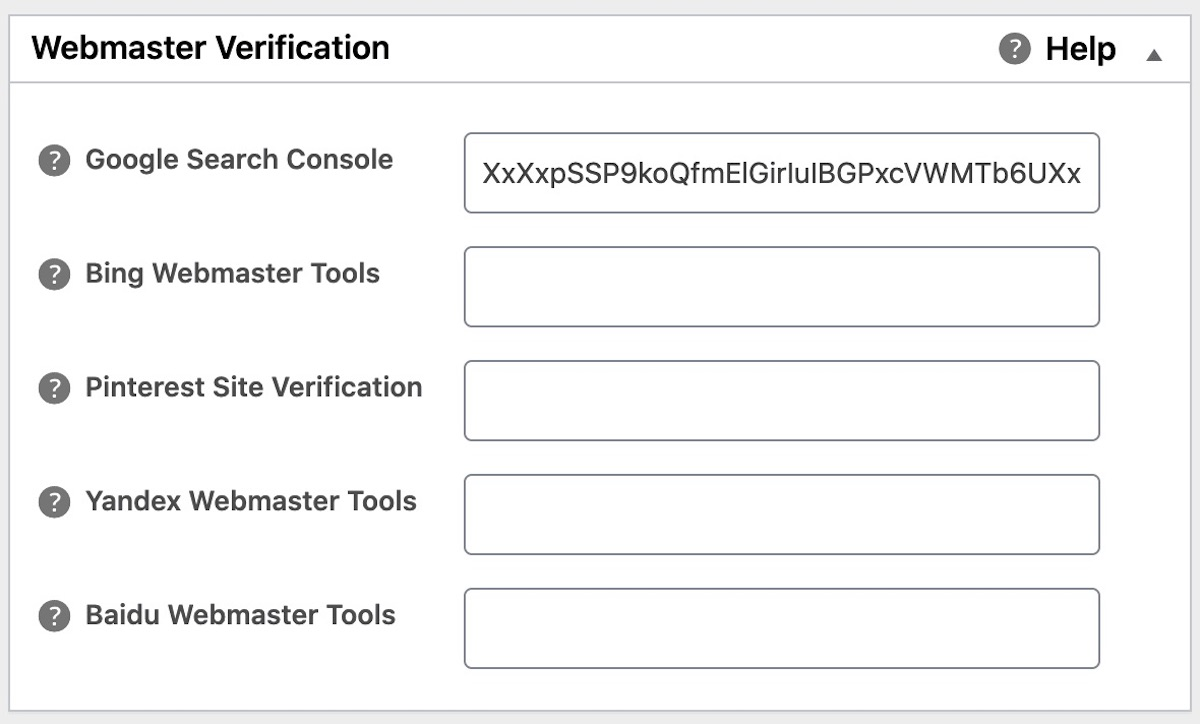 Google Search Console verification field in All in One SEO