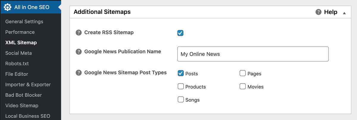 Additional Sitemaps section in All in One SEO
