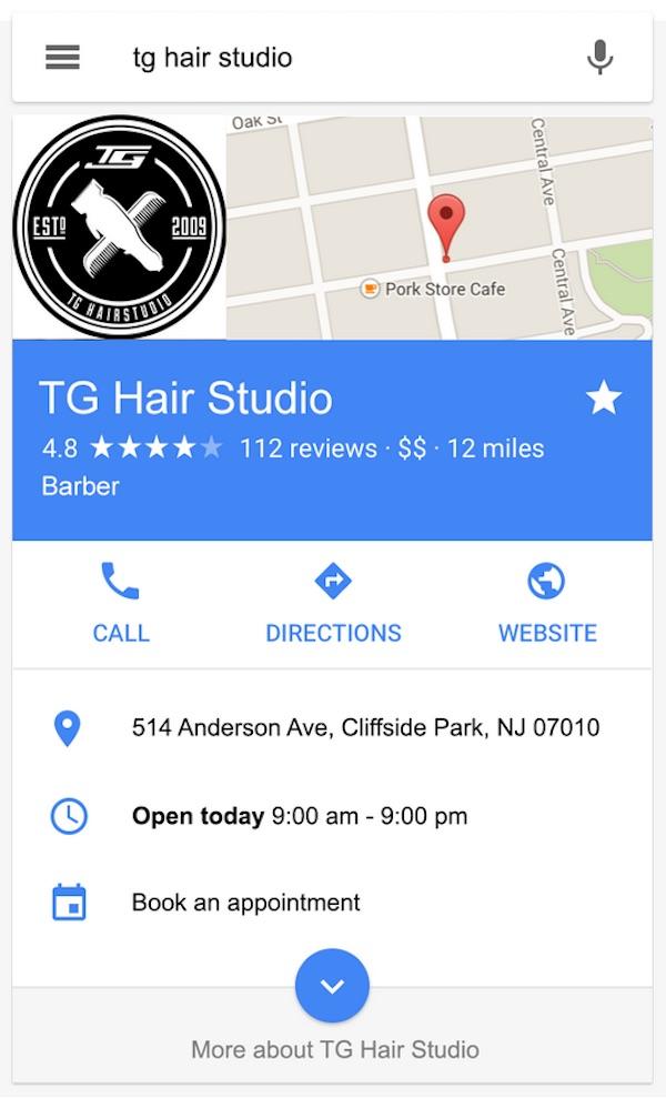 Google Local Business card