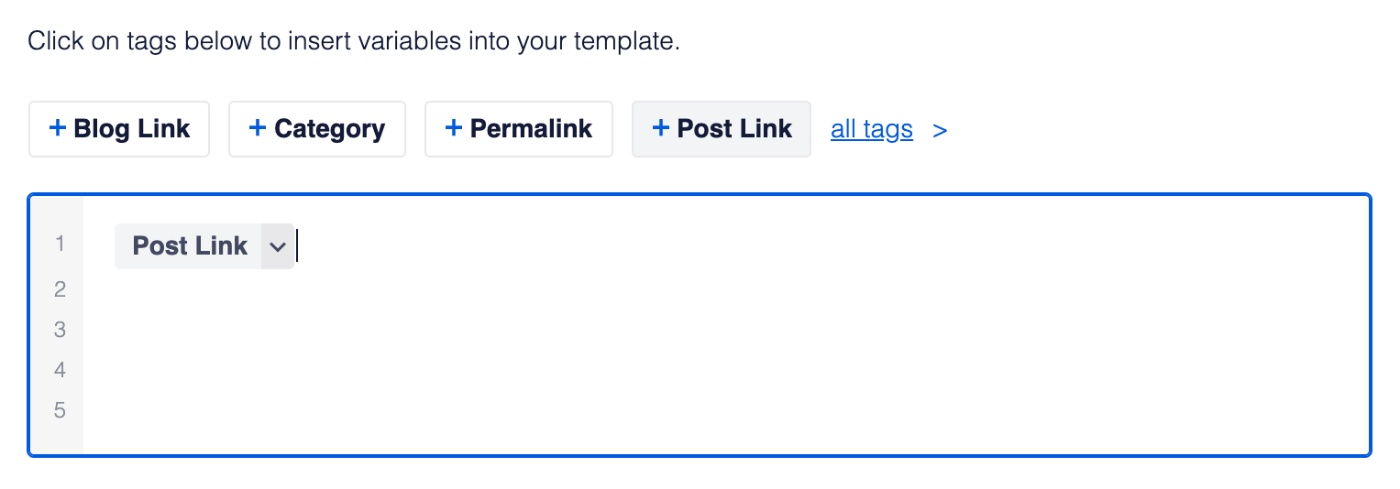 Clicking on a tag adds it to the RSS Content fields