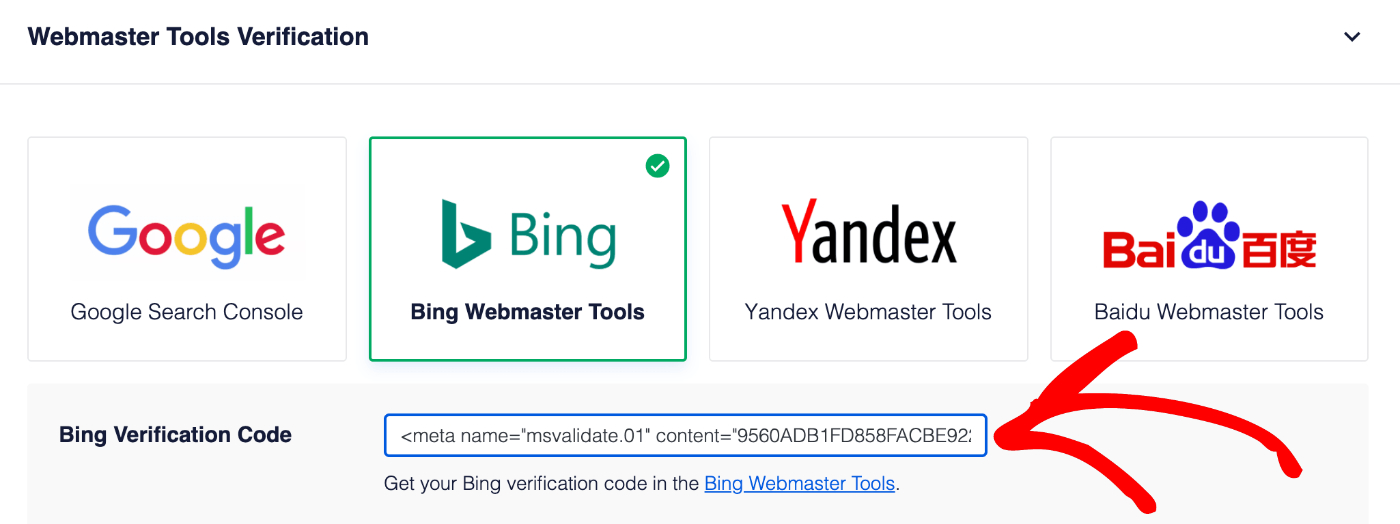 Paste your verification code in the Bing Verification Code field in All in One SEO