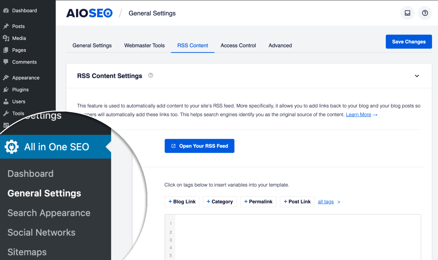 RSS Content screen in All in One SEO