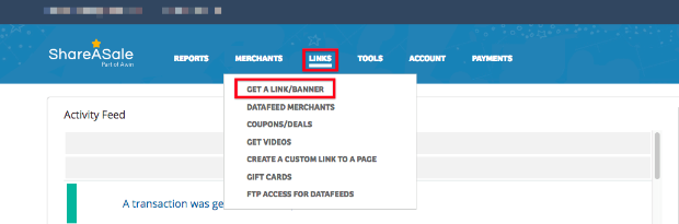 Get an Affiliate Link in ShareASale