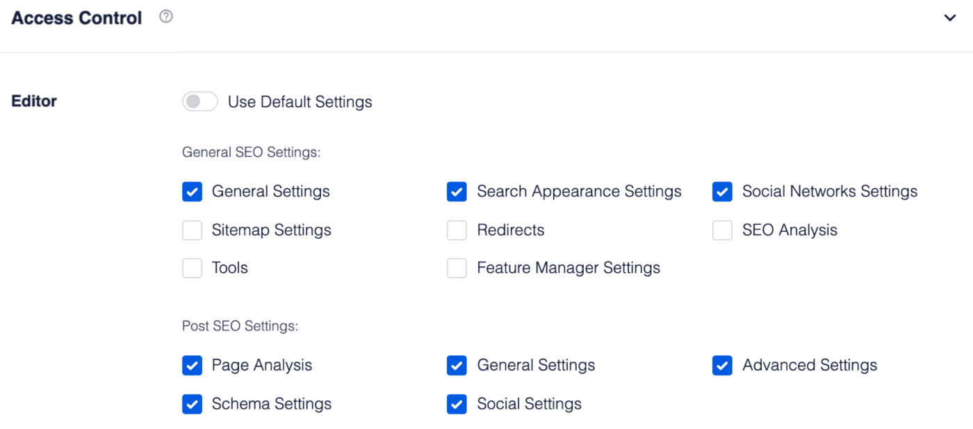 Access Control settings in All in One SEO