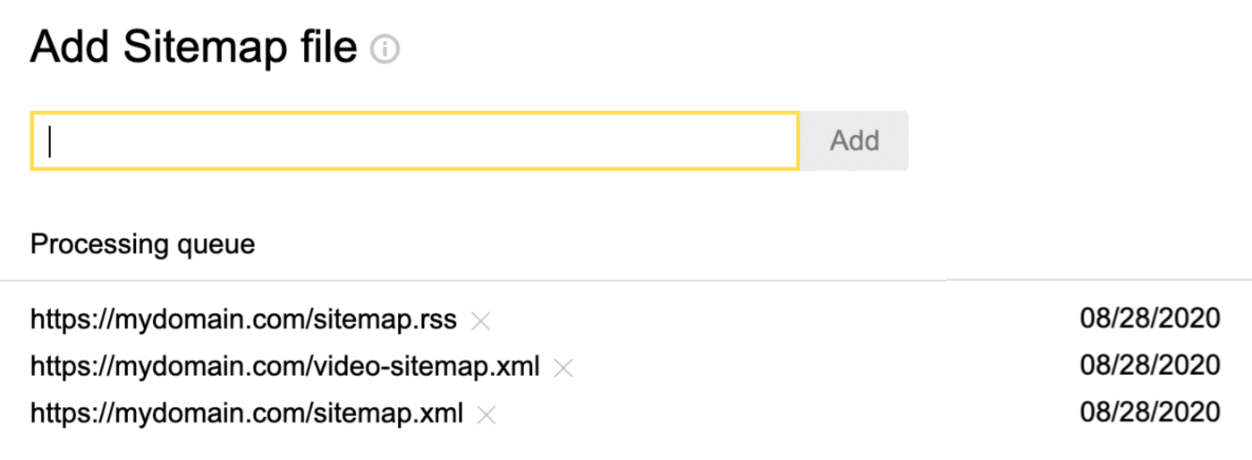 Add Sitemap form in Yandex Webmaster Tools