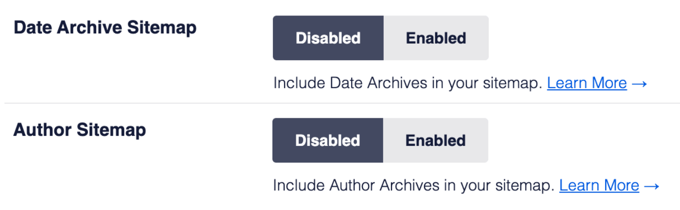 Date Archive Sitemap and Author Sitemap settings for XML Sitemap