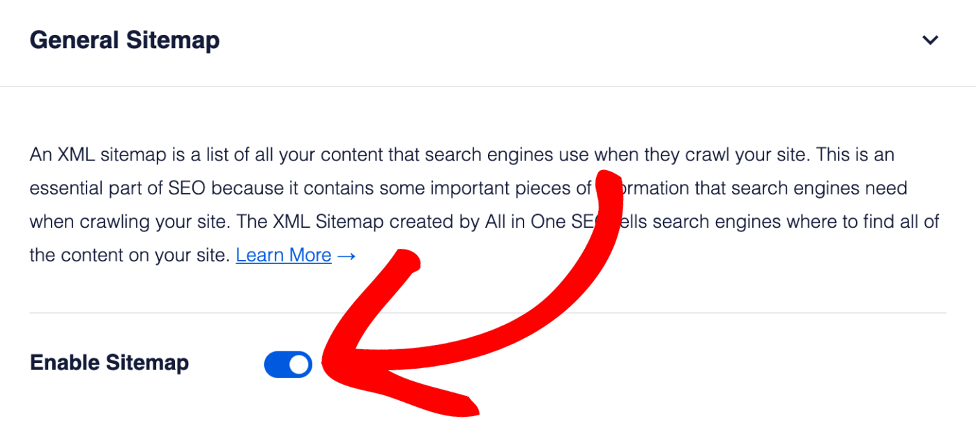 Enable Sitemap setting in All in One SEO