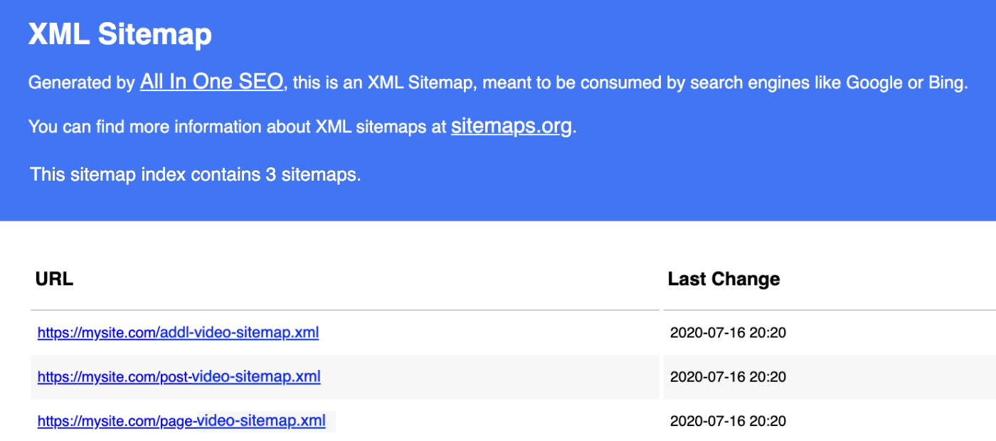 Example of a Video Sitemap generated by All in One SEO