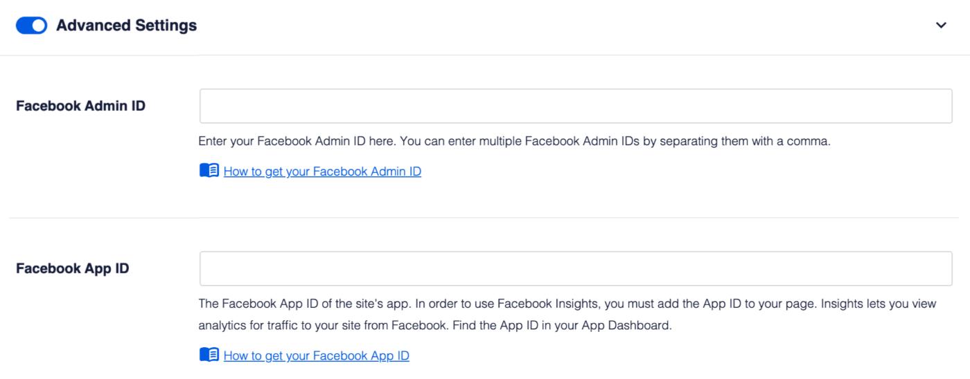 Advanced Settings toggle for Facebook