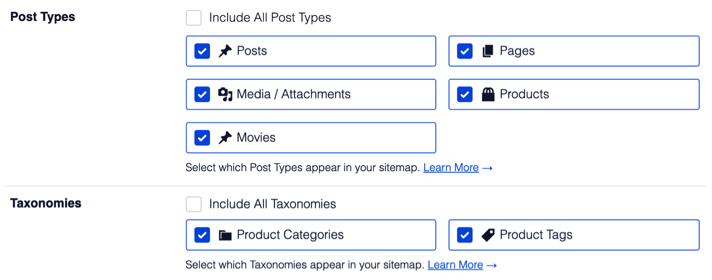 Post Types and Taxonomies options showing individual post types and taxonomies