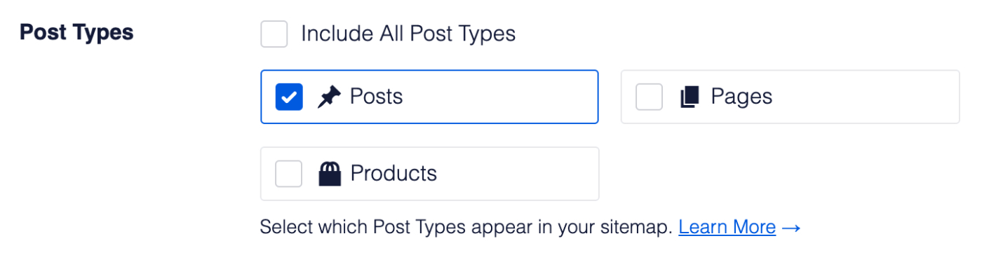 Post Types settings in News Sitemap
