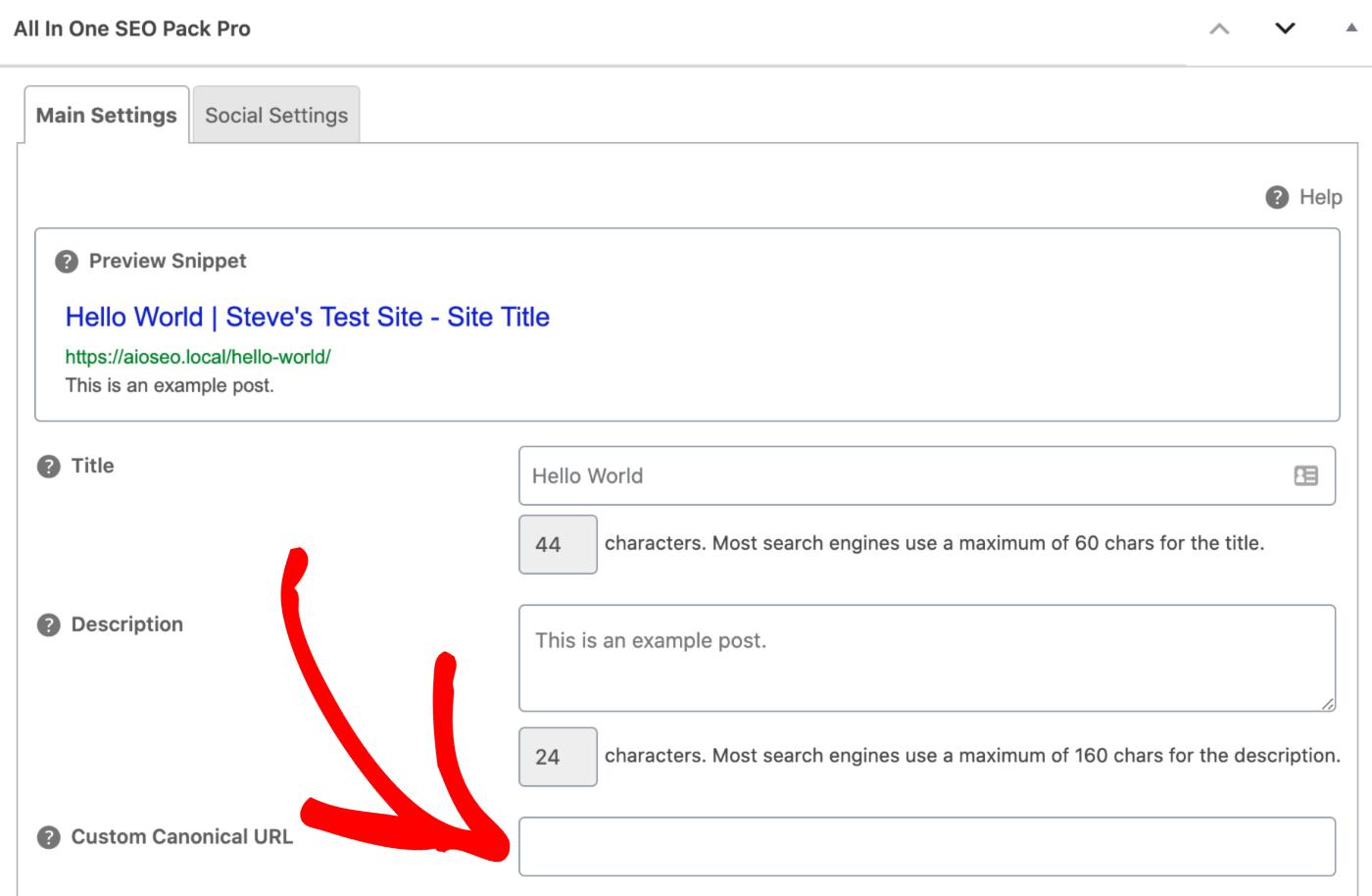 Custom Canonical URL setting in All in One SEO