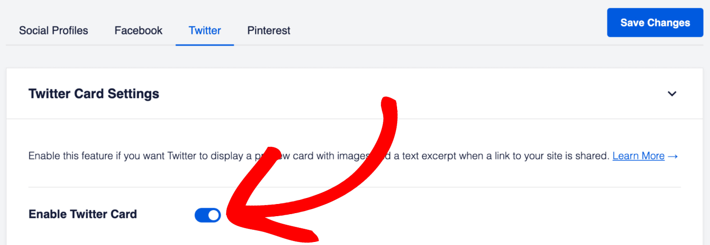 Enable Twitter Cards toggle in Twitter Setting