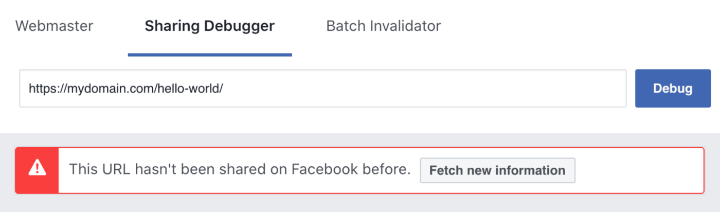 Fetch new information button in the Facebook Debug Tool