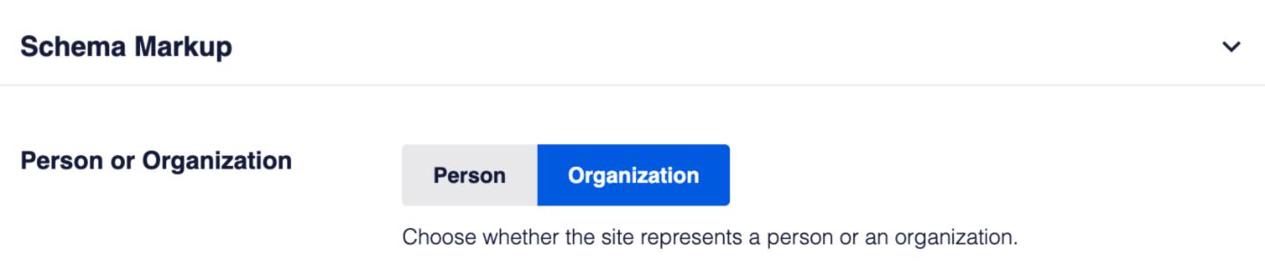 Person or Organization setting in Schema Markup settings