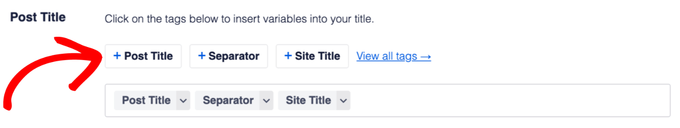 Adding a smart tag to the Post Title field