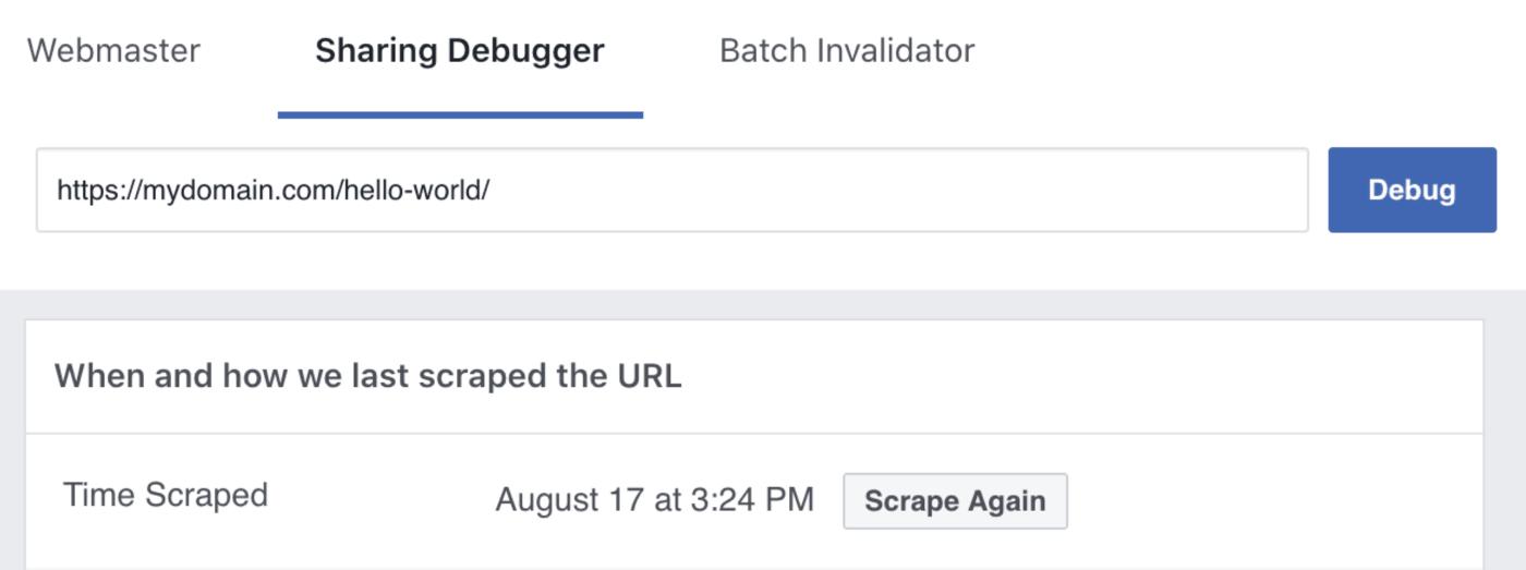Scrape Again button in the Facebook Debug Tool