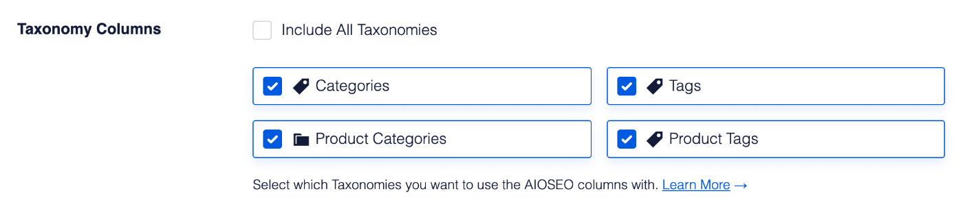 Checkboxes of all taxonomies in Taxonomy Columns setting