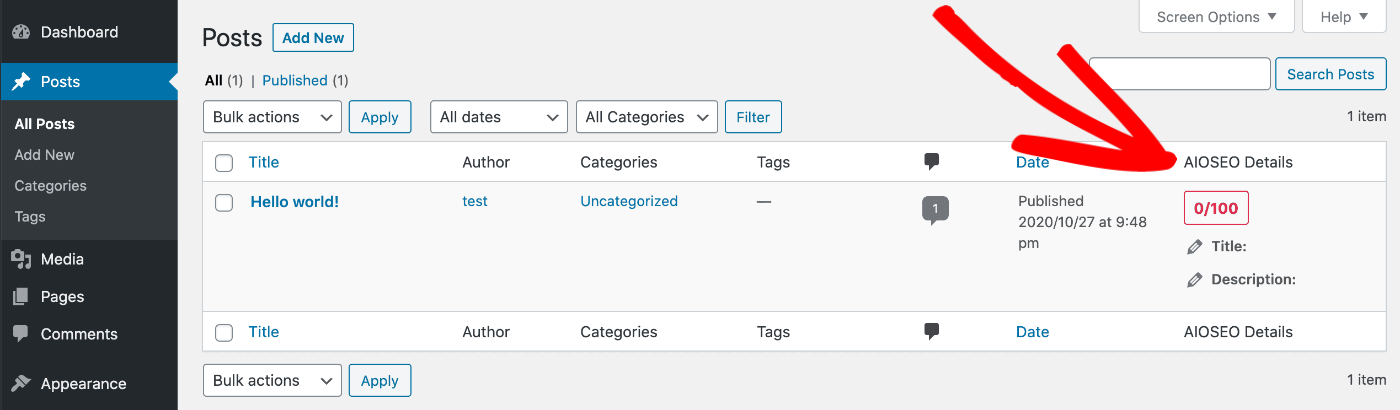 AIOSEO Details column on the Posts screen in WordPress