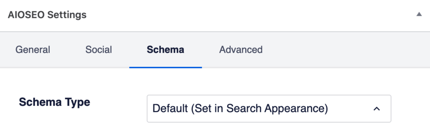 Schema tab in the AIOSEO Settings section
