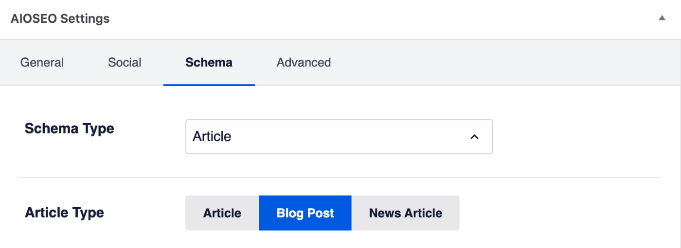 Article Type setting on the Schema tab