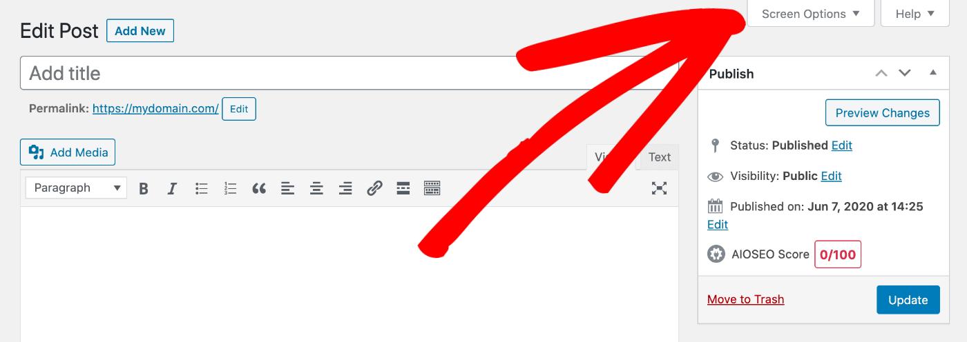 Screen Options pull down tab in WordPress